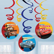 6 Disney's CARS Children's Birthday Party Hanging Cutout Swirls Decorations