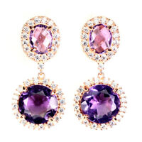 Unheated Round Purple Amethyst 12mm Natural Cz 925 Sterling Silver Earrings