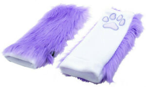 PAWSTAR Paw Arm Warmers  Furry Fingerless Gloves Costume adult Black [LAKAW]3101
