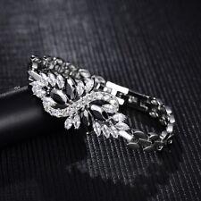 Unique Women Cubic Zirconia CZ Silver Gold Filled Bangle Cuff Wristband Bracelet