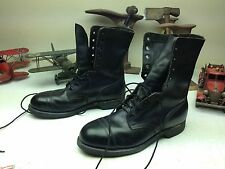 1991 USA STEEL TOE BLACK LEATHER MILITARY ENGINEER MOTORCYCLE BOOTS SIZE 10 W