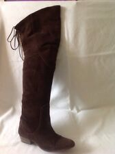 Office Dark Brown Over Knee Suede Boots Size 38