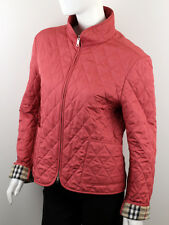 BURBERRY WOMEN'S PINK QUILTED COAT WITH NOVA CHECK DETAIL SIZE L