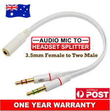 Premium 3.5mm AUX Splitter Cable Female to Two Male Mic Audio Combine Adapter AU