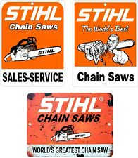 """Lot Of 3 STIHL Chain Saw Vintage Looking Reproduction 9""""x12"""" Tin Aluminum Signs"""