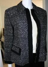 LAFAYETTE 148 NY 6P Black White Jacket Wool Polyester Viscose Black Trim EUC