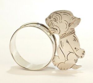 Vintage 1933 Figural Sterling Silver Napkin Ring with a Baby Tiger or Lion - SL
