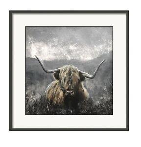 Highland cow, Grey Highlands, limited edition,original art painting