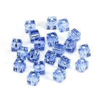20pcs l-blue 6mm Faceted Square Cube Cut glass crystal Loose Spacer beads