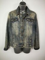 WOMENS NEW LOOK BLUE WASH DENIM JACKET FADED STYLE BUTTON UP CASUAL SIZE UK 16
