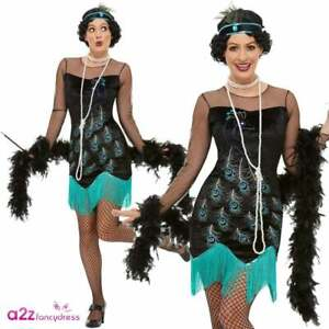 Ladies 20's Peacock Flapper Adult Charleston Great Gatsby Fancy Dress Outfit