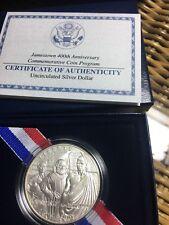2007 Jamestown 400th Anniversary Commemorative Silver Dollar w/Box and COA