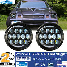 "Black 7"" H6024 H4 Round Projector Headlights Head Lamps For Camaro 1967-1981"