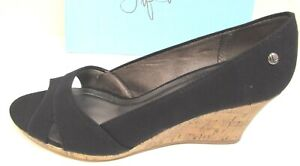 Life Stride Size 9  Black Fabric Wedge Heels New Womens Shoes