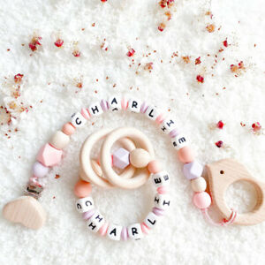 Personalised Wood Ring Silicone Beads Baby Teething Pacifier Clip Bracelet Toys