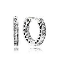 Sterling Silver Women Earring SMALL HEARTS Hoop Earrings Pave Clear CZ