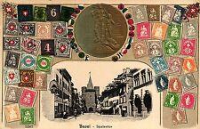 Basel, Spalentor, Prägekarte, Schweizer Briefmarken, um 1910