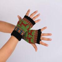 Women Snowflake Deer Fingerless Winter Warm Knitted Woolen Gloves Christmas Apt