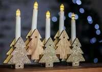 Pre-Lit Christmas LED Wooden Tree Candle Bridge Ornament Xmas Decoration Light