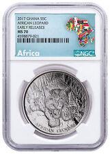 2017 Republic of Ghana 1 oz Silver African Leopard Coin NGC MS70 ER SKU49736