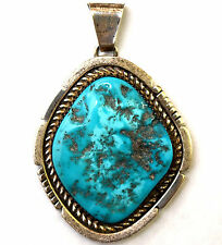 Vintage Native American Sterling Silver and Large Turquoise Pendant Signed