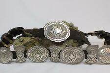 Vintage Navajo Signed Hand-Stamped & Tooled Sterling Silver Concho Belt