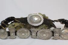 Vintage Navajo Signed Hand-Stamped & Tooled Sterling Silver Concho Belt