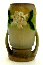 "40's ROSEVILLE Pottery Gardenia 683-8"" VASE w/ Handles Tan/Green ART DECO Superb"