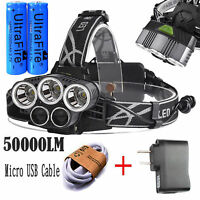 50000LM 5Head XM-L T6 LED 18650 Micro USB Headlamp Headlight Charger Battery Set