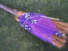Witches Mini broom Besom Altar Pagan Witchcraft purple leaf