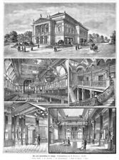 Leipzig, Leipzig, das Gewandhaus, Sammelblatt, Original--Holzstich von 1889