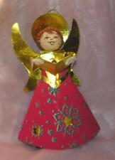 1950'S Vtg Japan Xmas Angel, Spun Cotton W Chenille, Foil N Paper Ovr Cardboard