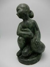 Vintage Amphora Gerona Spain Nude Girl & Goose Verdigris Art Pottery Figurine