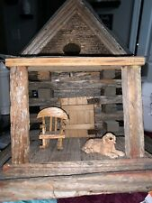 HANDMADE CABIN BIRDHOUSE with Front Porch Rocker And Dog. Unique