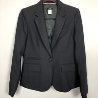 J Crew Womens Size 8 One Button Dark Gray Career Blazer Jacket 100% Wool