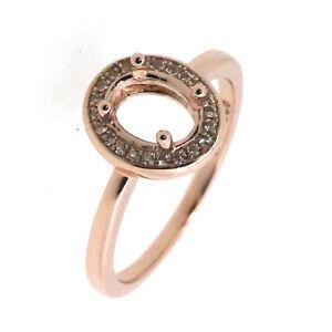 14K Rose Gold Diamond Accent OV 6x8mm Semi Mount Ring Setting Halo Design