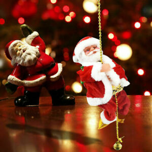 Santa Claus Climbing On Rope For Xmas Three Decor Christmas Electric Musical Toy