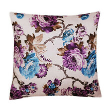 "Purple Blue Floral Print Silk Cotton 20"" X 20"" Cushion Covers Pillow Sofa Bed"