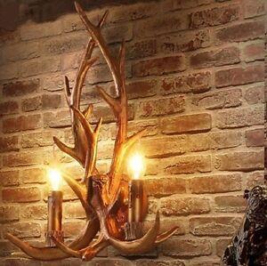 Art Deco Country Resin Deer Horn Antler Wall Lighting Sconce Industrial Lamp