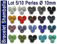PROMO Lot 5/10 PERLES Disco Cristal Strass Ø 10mm pour Bracelet Shamballa