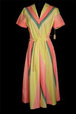 Very Rare 1940'S Wwii Era Deadstock Mustard, Peach & Green Cotton Dress 6+