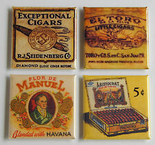 Cigar FRIDGE MAGNET Set (1.5 x 1.5 inches each) havana aristocrat box cuban sign