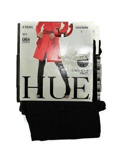 Hue opaque Black & Grey 2 pair Control top tights size 1