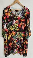 SEVEN SISTERS amazing Fruit Bird Print 3/4 Sleeve Tunic Dress Size 16