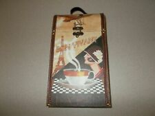 New listing Wine bottle holder carrying case storage 2 compartment Paris France theme