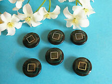 "1202/Chequerboard Buttons "" Square Gold "" Green And Golden Set Of 6 Ép. 1970"