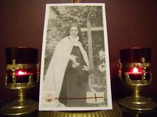St. Therese' the Little Flower Convent Large Holy Card with Relic & Prayer.