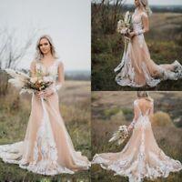 Champagne Ivory Wedding Dresses Long Sleeves Plus Size 0 4 6 8 10 12 14 16 18 20