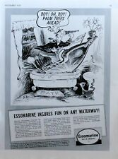 Scarce 1939 magazine ad page for Essomarine Oil - great Dr. Seuss illustration