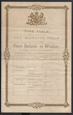 Queen Victoria Private Train Railway Time Table from Ballater to Windsor 1900